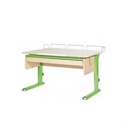 Парта для дома Астек МОНО-2 с фронтальной приставкой и выдвижным органайзером (Цвет столешницы:Береза, Цвет ножек стола:Зеленый) - фото 25267
