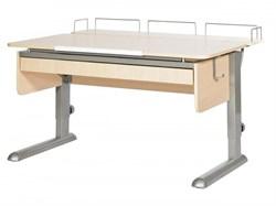 Парта для дома Астек МОНО-2 с фронтальной приставкой и выдвижным органайзером (Цвет столешницы:Береза, Цвет ножек стола:Серый) - фото 25275