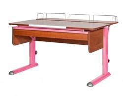 Парта для дома Астек МОНО-2 с фронтальной приставкой и выдвижным органайзером (Цвет столешницы:Яблоня, Цвет ножек стола:Розовый) - фото 25299