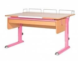 Парта для дома Астек МОНО-2 с фронтальной приставкой и выдвижным органайзером (Цвет столешницы:Бук, Цвет ножек стола:Розовый) - фото 25315