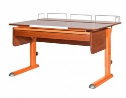 Парта для дома Астек МОНО-2 с фронтальной приставкой и выдвижным органайзером (Цвет столешницы:Яблоня, Цвет ножек стола:Оранжевый) - фото 25331