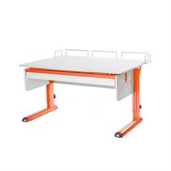 Парта для дома Астек МОНО-2 с фронтальной приставкой и выдвижным органайзером (Цвет столешницы:Белый, Цвет ножек стола:Оранжевый) - фото 25339