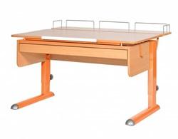 Парта для дома Астек МОНО-2 с фронтальной приставкой и выдвижным органайзером (Цвет столешницы:Бук, Цвет ножек стола:Оранжевый) - фото 25347