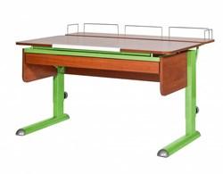 Парта для дома Астек МОНО-2 с фронтальной приставкой и выдвижным органайзером (Цвет столешницы:Яблоня, Цвет ножек стола:Зеленый) - фото 25355