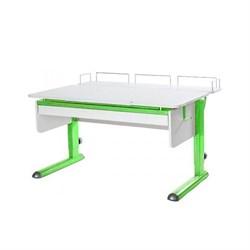 Парта для дома Астек МОНО-2 с фронтальной приставкой и выдвижным органайзером (Цвет столешницы:Белый, Цвет ножек стола:Зеленый) - фото 25363