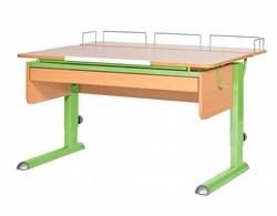 Парта для дома Астек МОНО-2 с фронтальной приставкой и выдвижным органайзером (Цвет столешницы:Бук, Цвет ножек стола:Зеленый) - фото 25371