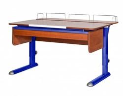 Парта для дома Астек МОНО-2 с фронтальной приставкой и выдвижным органайзером (Цвет столешницы:Яблоня, Цвет ножек стола:Синий) - фото 25379