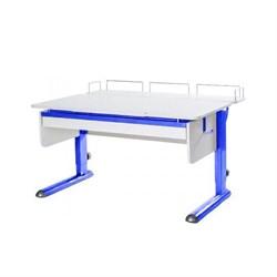 Парта для дома Астек МОНО-2 с фронтальной приставкой и выдвижным органайзером (Цвет столешницы:Белый, Цвет ножек стола:Синий) - фото 25387