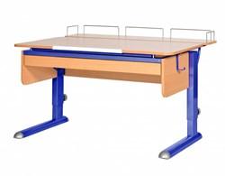 Парта для дома Астек МОНО-2 с фронтальной приставкой и выдвижным органайзером (Цвет столешницы:Бук, Цвет ножек стола:Синий) - фото 25395