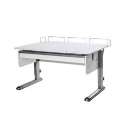 Парта для дома Астек МОНО-2 с фронтальной приставкой и выдвижным органайзером (Цвет столешницы:Белый, Цвет ножек стола:Серый) - фото 25411