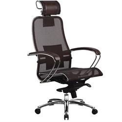 Эргономическое офисное кресло Metta SAMURAI S-2.03 (Цвет обивки:Темно коричневый, Цвет каркаса:Серебро) - фото 25986