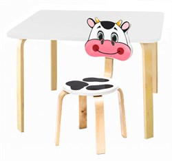 Комплект детской мебели Polli Tolli Мордочки с белым столиком (Цвет столешницы:Белый, Цвет сиденья и спинки стула:Белый) - фото 26072