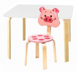Комплект детской мебели Polli Tolli Мордочки с белым столиком (Цвет столешницы:Белый, Цвет сиденья и спинки стула:Розовый) - фото 26075