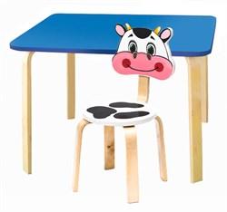 Комплект детской мебели Polli Tolli Мордочки с голубым столиком (Цвет столешницы:Голубой, Цвет сиденья и спинки стула:Белый) - фото 26077