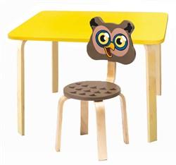 Комплект детской мебели Polli Tolli Мордочки с желтым столиком (Цвет столешницы:Желтый, Цвет сиденья и спинки стула:Коричневый) - фото 26084