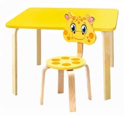 Комплект детской мебели Polli Tolli Мордочки с желтым столиком (Цвет столешницы:Желтый, Цвет сиденья и спинки стула:Желтый) - фото 26086