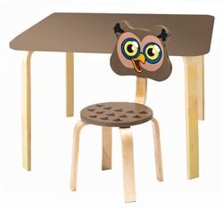 Комплект детской мебели Polli Tolli Мордочки с коричневым столиком (Цвет столешницы:Коричневый, Цвет сиденья и спинки стула:Коричневый) - фото 26087