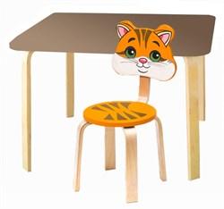 Комплект детской мебели Polli Tolli Мордочки с коричневым столиком (Цвет столешницы:Коричневый, Цвет сиденья и спинки стула:Оранжевый) - фото 26091