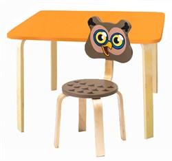 Комплект детской мебели Polli Tolli Мордочки с оранжевым столиком (Цвет столешницы:Оранжевый, Цвет сиденья и спинки стула:Коричневый) - фото 26092