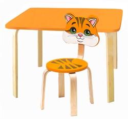 Комплект детской мебели Polli Tolli Мордочки с оранжевым столиком (Цвет столешницы:Оранжевый, Цвет сиденья и спинки стула:Оранжевый) - фото 26094