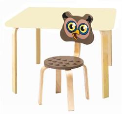 Комплект детской мебели Polli Tolli Мордочки с ванильным столиком (Цвет столешницы:Ваниль, Цвет сиденья и спинки стула:Коричневый) - фото 26098