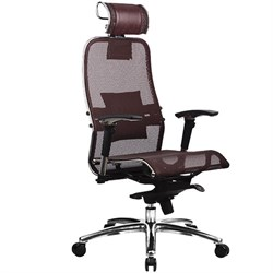 Эргономическое офисное кресло Metta SAMURAI S-3.03 (Цвет обивки:Темно бордовый, Цвет каркаса:Серебро) - фото 26234