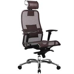Эргономическое офисное кресло Metta SAMURAI S-3.03 (Цвет обивки:Темно коричневый, Цвет каркаса:Серебро) - фото 26241