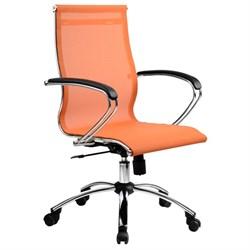 Офисное кресло Metta SkyLine S-2 (Цвет обивки:Оранжевый, Цвет каркаса:Серебро) - фото 26379