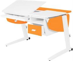 Парта растущая Астек Прайм с подвесной тумбой и выдвижным органайзером (Цвет столешницы:Белый, Цвет боковин:Оранжевый, Цвет ножек стола:Белый) - фото 26450