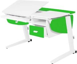 Парта растущая Астек Прайм с подвесной тумбой и выдвижным органайзером (Цвет столешницы:Белый, Цвет боковин:Зеленый, Цвет ножек стола:Белый) - фото 26456