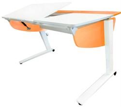 Парта растущая Астек Прайм (Цвет столешницы:Белый, Цвет боковин:Оранжевый, Цвет ножек стола:Белый) - фото 26477