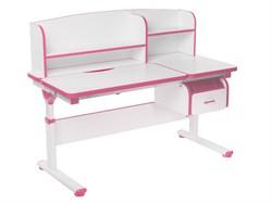 Регулируемая парта FunDesk Creare с выдвижным ящиком и надстройкой (Цвет столешницы:Розовый, Цвет ножек стола:Белый) - фото 27555