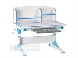 Парта-трансформер для школьника FunDesk Trovare с надстройкой (Цвет столешницы:Голубой, Цвет ножек стола:Белый) - фото 27569