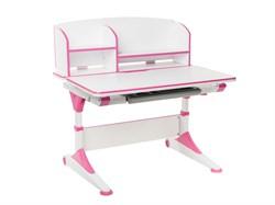 Парта-трансформер для школьника FunDesk Trovare с надстройкой (Цвет столешницы:Розовый, Цвет ножек стола:Белый) - фото 27575
