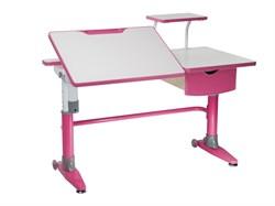 Парта-трансформер для школьника FunDesk Ballare с полкой и выдвижным ящиком (Цвет столешницы:Розовый, Цвет ножек стола:Розовый) - фото 27586