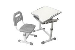 Комплект парта и стул трансформеры Fundesk Sole (Цвет столешницы:Серый, Цвет ножек стола:Белый) - фото 28264