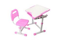 Комплект парта и стул трансформеры Fundesk Sole (Цвет столешницы:Розовый, Цвет ножек стола:Белый) - фото 28266