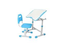 Комплект парта и стул трансформеры Fundesk Sole 2 (Цвет столешницы:Голубой, Цвет ножек стола:Белый) - фото 28276