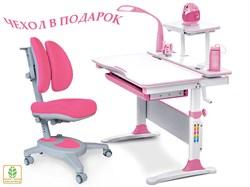 Комплект Mealux EVO-30 (парта Evo-Diego с лампой + кресло Y-115 с двойной спинкой)(дерево) (Белый, Розовый) - фото 28657