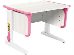 Парта ДЭМИ СУТ-41 75Х55 см (Цвет столешницы:Рамух белый, Цвет ножек стола:Белый, Цвет кромки:Розовый) - фото 28906