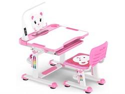 Комплект парта и стульчик Mealux BD-04 New Teddy (с лампой) (Белый, Розовый) - фото 28986