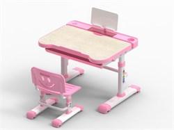Комплект парта и стул трансформеры Fundesk Bellissima (Цвет столешницы:Беленый дуб, Цвет каркаса:Белый, Цвет кромки:Розовый) - фото 29102