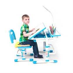 Комплект растущая парта и стул с чехлом RIFFORMA-07 (голубой) - фото 33015