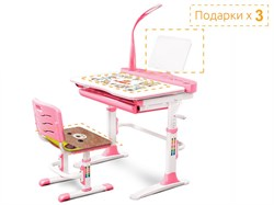 Комплект парта и стульчик Mealux EVO-19 (с лампой) (Розовый, Белый) - фото 34364