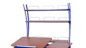 Надстройка Астек на парты ТВИН/ТВИН-2 и МОНО/МОНО-2 (Цвет каркаса:Синий, Цвет товара:Яблоня)