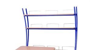 Надстройка Астек на парты ТВИН/ТВИН-2 и МОНО/МОНО-2 (Цвет каркаса:Синий, Цвет товара:Бук)