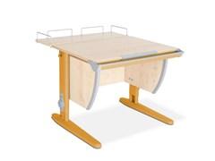 Парта ДЭМИ СУТ-14-01 75х55 см + задняя приставка (Цвет столешницы:Клен, Цвет ножек стола:Оранжевый)