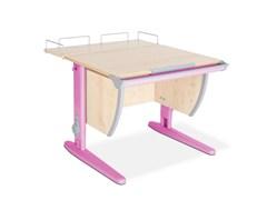 Парта ДЭМИ СУТ-14-01 75х55 см + задняя приставка (Цвет столешницы:Клен, Цвет ножек стола:Розовый)