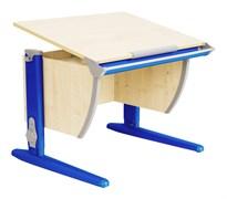 Парта ДЭМИ СУТ-14-02 75х55 см + задняя и боковая приставки (Цвет столешницы:Клен, Цвет ножек стола:Синий)