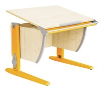 Парта ДЭМИ СУТ-14-02 75х55 см + задняя и боковая приставки (Цвет столешницы:Клен, Цвет ножек стола:Оранжевый)